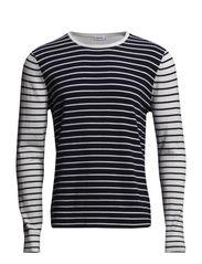 M. Cotton Merino Stripe Sweate - Navy/Ivory