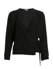 Silk Wrap Blouse - Black