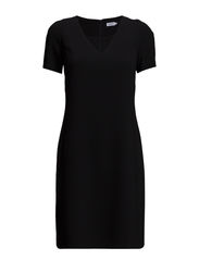 Drapey V- Neck Dress - Black