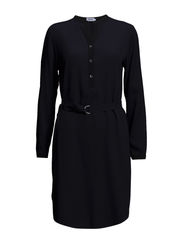 Heavy Crepe Shirt Dress - Navy/Black
