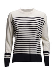 Merino Stripe Pullover - Cream/Navy