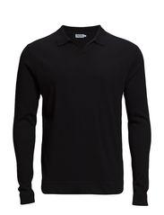 M. Linen Cotton Poloshirt - Black