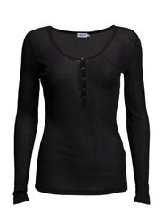Shiny Button Top - Black