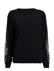 Sequin Stripe Pullover - Black