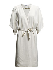 Satin Belt Short Sleeve Coat - Ivory