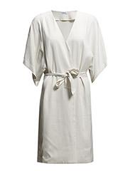 Satin Belt Short Sleeve Coat - Ivory