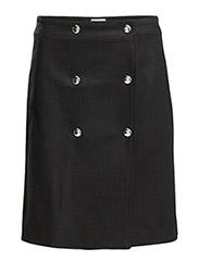 Wrap Button Skirt - Black