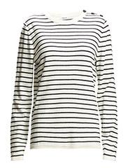 Knit Stripe Top - Ivory/Navy