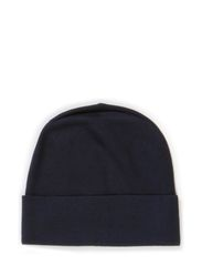 M. Plain Knit Wool Hat - Navy