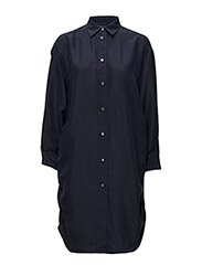 Silk Shirt Dress - NAVY