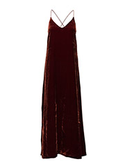 Velvet Strap Dress - WARM RED