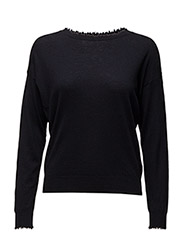 Frayed R-Neck Top - NAVY