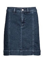 A-lined Denim Skirt - DARK BLUE