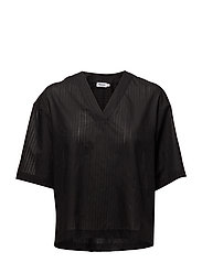 Ria V-Neck Shirt - BLACK