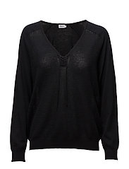 Soft Cotton V-neck Pullover - BLACK