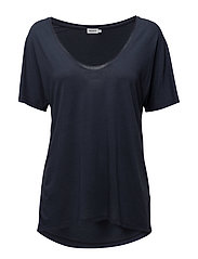 Roll Edge Scoop Neck Tee - TWILIGHT