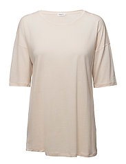 Elbow Sleeve Swing Top - CHAMPAGNE