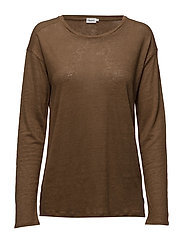 Relaxed Long Sleeve Linen Tee - ARMY