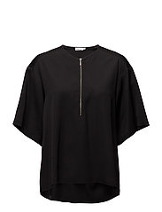 Paige square draped shirt - BLACK