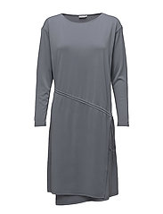 Drawstring Wrap Jersey Dress - SMOKE