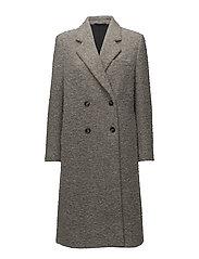Edine Shaggy Tailored Coat - GREY MEL.