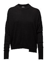 Asymmetric Drapey Pullover - BLACK