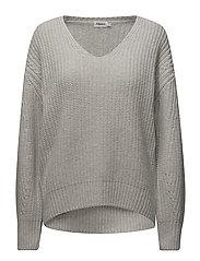 Rib V-Neck Pullover - LIGHT GREY