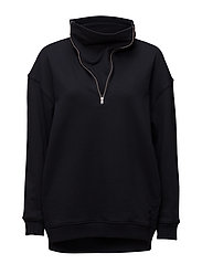 Boyfriend Zip Neck Sweatshirt - NAVY