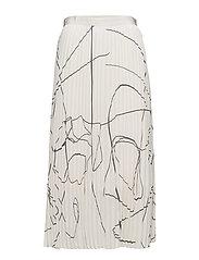 Printed Plisse Skirt - OFF-WHITE/