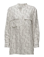 Printed Shirt Tunic - OFF WHITE/