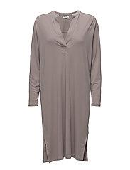Side Slit Tunic Dress - MUSHROOM