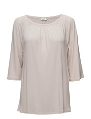 Gathered Scoop Neck Blouse - PEBBLE