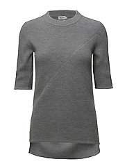 Wool/Cashmere Rib T-shirt - GREY MEL.