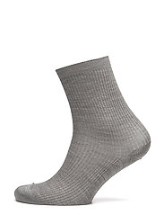 Silk Rib Sock - GREY MEL.
