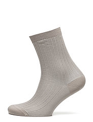 Lurex Rib Sock - PORCELAIN
