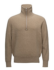 M. Half Zip Ribbed Sweater - GREIGE MEL