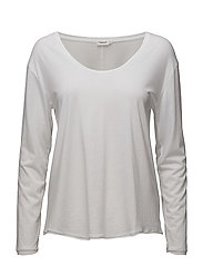 Scoop Neck Long Sleeve Top - WHITE