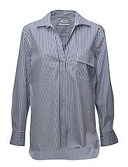 Relaxed stripe shirt - WHITE/BLUE