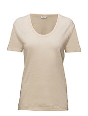 Linen Scoop Neck Tee - BONE