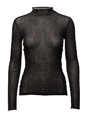 Sheer Jersey Mock Neck Top - BLACK