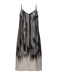 Strappy Print Dress - BLACK ABST