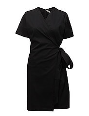 Belted Wrap Dress - BLACK