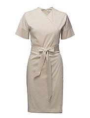 Belted Wrap Dress - BONE
