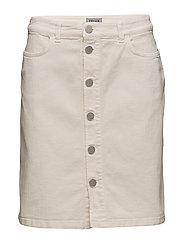 Ecru Denim Skirt - ECRU WHITE