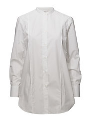 Band Collar Long Shirt - WHITE