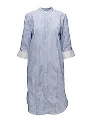 Cotton Striped Shirtdress - WHITE/BLUE