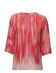 Printed Drapey Tee - RED ABSTRA