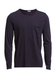 M. Lt. Single Jersey Roll Edge L/S - Navy