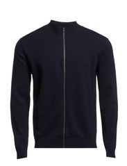 M. Cotton Merino Zip Cardigan - Navy