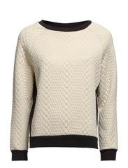 Kelly T-shirt long Sleeve - Cloud Cream/Black